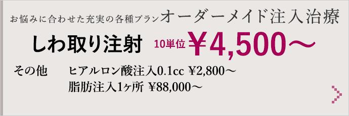 お悩みに合わせた充実の各種プランオーダーメイド注入治療 しわ取り注射 10単位¥4,500〜 その他 ヒアルロン酸注入0.1cc ¥2,800〜/脂肪注入1ヶ所 ¥88,000〜