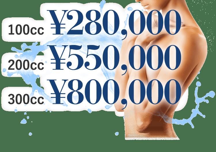 100cc ¥280,000 200cc ¥550,000 300cc ¥800,000