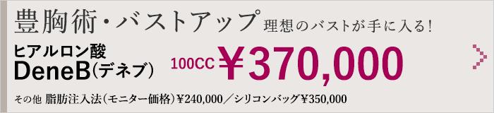 豊胸術・バストアップ理想のバストが手に入る! アクアフィリング豊胸術 100CC¥280,000 その他 脂肪注入法(モニター価格)¥240,000/シリコンバッグ¥350,000
