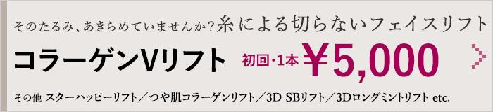 そのたるみ、あきらめていませんか?糸による切らないフェイスリフト コラーゲンVリフト 初回・1本¥5,000 その他 スターハッピーリフト/つや肌コラーゲンリフト/3D SBリフト/3Dロングミントリフト etc.