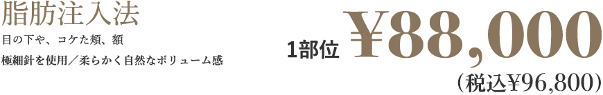 脂肪注入法 目の下や、コケた頬、額、バストやデコルテラインなど極細針を使用/柔らかく自然なボリューム感 1部位 ¥88,000